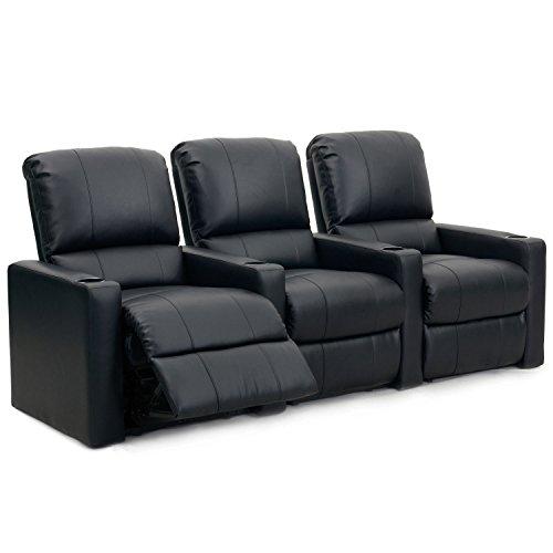 Octane Seating Charger XS300 | Fila di 3 Poltrone da Home Theatre | Pelle Nera Rigenerata | Poggiapiedi in Stile Chaise | Molle Insacchettate | Schienale Rimovibile | Supporto Lombare
