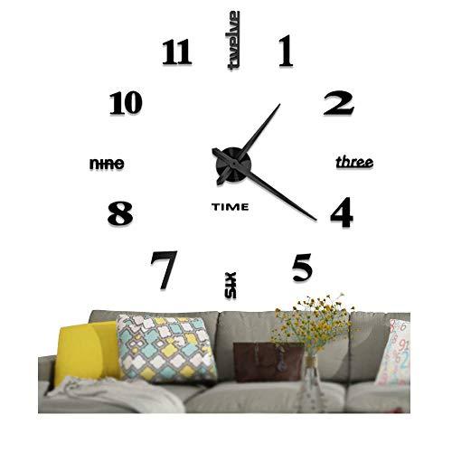Vangold Modern 3D DIY Orologi da parete Decorazioni grandi adesivi per la casa Decorazione-2 anni di garanzia (Nero)