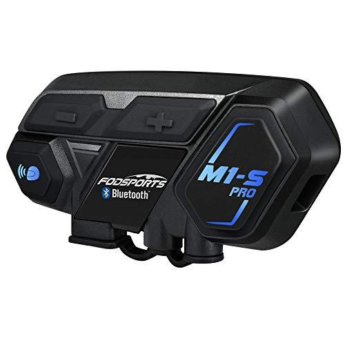 Intercom Moto Casco Bluetooth, Fodsports M1S Pro 2000M 8 Riders Group Moto Casco Sistema de comunicación inalámbrico Auriculares Interphone (impermeable / manos libres / música estéreo / GPS / 2 mic)