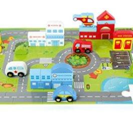 """small foot 10711 Puzzle """"Traffico urbano"""" 2 in 1 Mondo giochi Cubetti da costruzione in"""