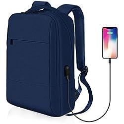 【Vuelta al Cole】 Mochila para Portátil, REYLEO Mochila Negocio Impermeable con Puerto de USB para Hombre Mujer Estudiante - Azul