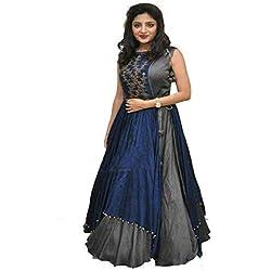 Generic Women Bangalory Cotton Silk Gown (Grey_Free Size)