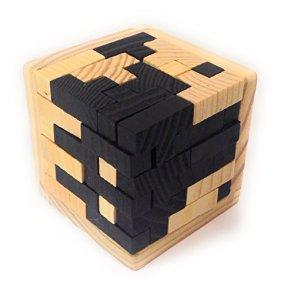 BSD Channel Tetris 3D Rompecabezas de Madera Natural - 54 Bloques en Forma de T Tetris - Rompecabezas Geométrico…