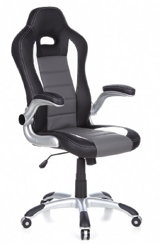 hjh OFFICE 621710 RACER SPORT - Silla gaming y oficina, negro / gris