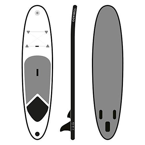 ToCi Standup Paddeling Board XL   320 x 76 x 15 cm aufblasbares Surfbrett   mit Trage Rucksack und Teleskop ALU Paddel   inklusive 2 Wege-Pumpe