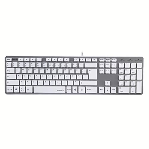 Hama PC Tastatur (Ultra Slim, Apple-Design, geräuscharm, USB kabelgebunden, Deutsches Tastaturlayout QWERTZ, Nummernblock) weiß / silber