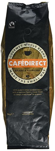 Cafédirect Arabica coffee beans (a caramel notes, nutty notes, rounded and well-balanced flavour coffee with aromas of caramel and roasted, nutty)