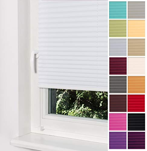 Home-Vision Premium Plissee Faltrollo ohne Bohren mit Klemmträger / -fix (Weiß, B80cm x H120cm) Blickdicht Sonnenschutz Jalousie für Fenster & Tür