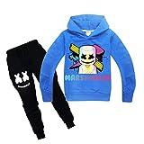 WULAU Suéter con Capucha Deportivo para niños, Sudadera con Capucha de niño con Capucha, Manga Larga, Estampado Casual en 3D y Pantalones para niños-Azul-120cm
