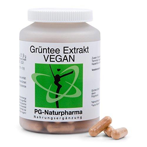 Tè verde vegano, 120 capsule, estratto di tè verde con polifenoli al 95%, contenuti di 2 capsule: catechine 65% (455mg), EGCG 40% (280mg), caffeina 5% (35mg), prodotto in Germania