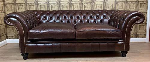 The Crafted Sofa Company Durham 3posti Chesterfield-Divano in Pelle Birch Bordeaux