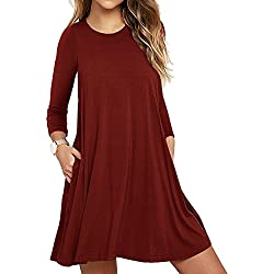 LILBETTER Womens Basic Causal Tunic Top Mini T-Shirt Kleid (Weinrot S)