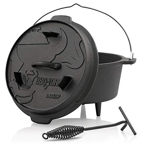 BBQ-Toro, forno olandese serie premium, con pentola e coperchio in ghisa, con solleva-coperchio