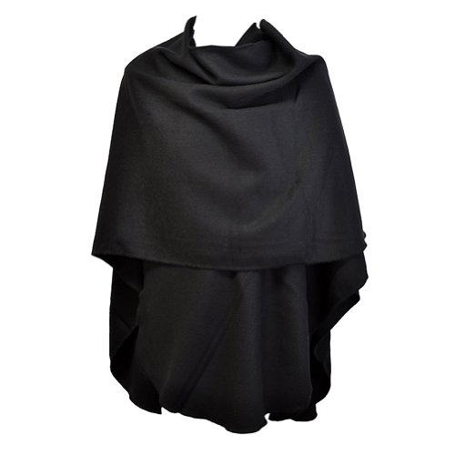TOUTACOO, Grande Poncho Donna - Made in France 01-Nero