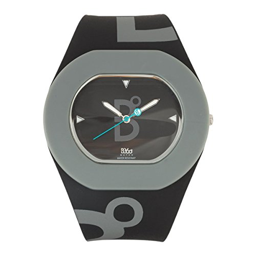 B360 WATCH Unisex-Armbanduhr B COOL Black and Grey Medium, 3 bars Analog Quarz Silikon 1070089