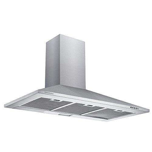 Ciarra, cappa con aspiratore, da cucina, 90cm, in acciaio INOX (argento)