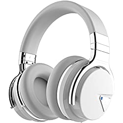 COWIN E7 Auriculares Inalámbricos Bluetooth con Micrófono Hi-Fi Deep Bass Auriculares Inalámbricos Sobre El Oído, Almohadillas de Protección Cómodo, 30 Horas de Tiempo de Juego para Viajes - Negro (Blanco)