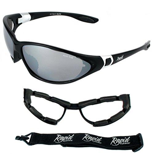 Rapid Eyewear Schwarz MORITZ ANTIFOG SPORT SONNENBRILLE Verspiegelt. Für Damen und Herren. Ideale Skibrillen, Gletscherbrille, Radsportbrille, Snowboardbrillen, Schießbrillen. UV schutz 400 Brille