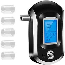Coquimbo Etilometro Digitale Portatile Alcool Tester con Display LCD Digitale 6 Pezzi bocchini, Perfetto per Uso Serale (3 batterie AAA Non Incluse)