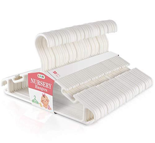 ilauke Set di 36 Grucce Appendiabiti in Plastica per Bambino, Bianco