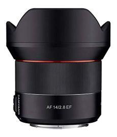 Samyang SA7051 - Objetivo de focal fija con auto focus para cámaras digitales AF 14mm F2.8 CANON EF, color negro