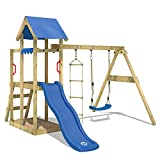 WICKEY Aire de jeux TinyPlace Jeu de plein air avec balançoire et toboggan, bac à sable et échelle de corde, bleu