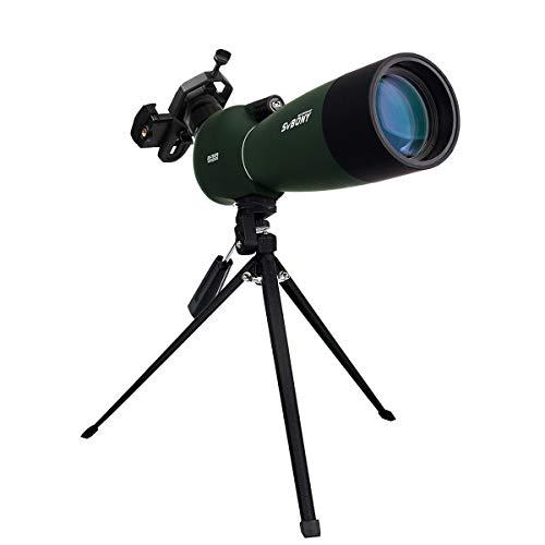 Svbony SV28 Telescopio Terrestre 25-75x70mm Impermeable Lente óptica Recubierta MC Zoom Spotting Scope con Trípode y Adaptador de Smartphone