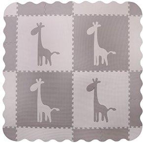 Alfombra para jugar al bebé con espuma gris 4 enclavamiento grande con azulejos de jirafa - Alfombras de juego con bordes. Cada azulejo 60 x 60 cms. Total 1.2m2.