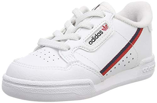 adidas Continental 80 i, Sneaker Unisex Bimbo, Bianco Ftwr White/Scarlet/Collegiate Navy, 23 EU