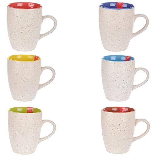 PEHAL MART Stylish Matt Finish Elegant Design Plain Sparkling Ceramic Tea/Coffee Mug for Office & Home Large Mug 300ml Set of 6 Pieces (Color-Multicolor)