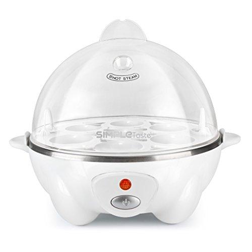 Simpletaste moderno hervidor de huevos eléctrico, cocedor con capacidad para 7 huevos, blanco