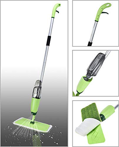 SHOPPOSTREET Multifunctional Quick & Easy Spray Mop Stainless Steel Microfiber Floor Cleaning Mop with Removable Washable Pad and Integrated Water Spray Mechanism for Home and Office