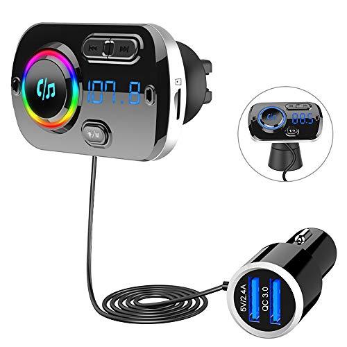 Trasmettitore FM Bluetooth 5.0, Vivavoce Car Kit con QC 3.0 Caricatore per Auto, supporto Uscita TF...