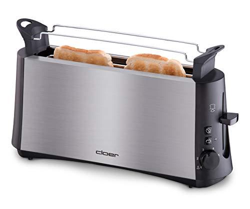 Cloer 3810 Langschlitztoaster für 2 Toastscheiben / 880 W / StiWa 'gut' / 'Graubrot-Funktion' für verschiedene Brotsorten / Brötchenaufsatz / Nachhebevorrichtung / mattiertes wärmeisoliertes Edelstahlgehäuse