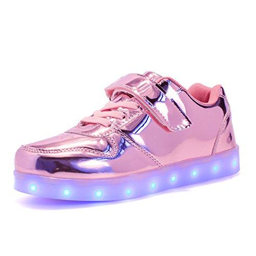 Voovix Bambini LED Light-up Scarpe con Telecomando Low-Top Lampeggiante Sneakers con Luci per Ragazze e Ragazzi(Rosa01,EU30)