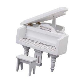 1/12 Casa Delle Bambole In Miniatura Di Legno Con Pianoforte Sgabello Bianco