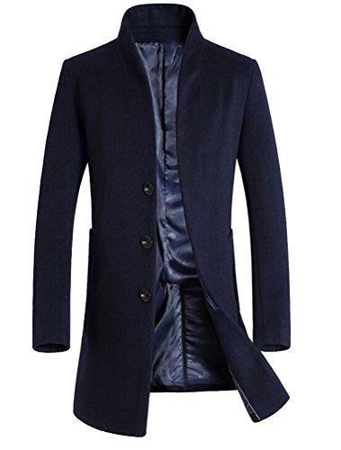 Vogstyle Uomo Sottile Caloroso Cappotto Invernale Di Lana Blu XL