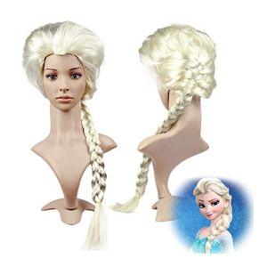 Peluca larga de anime para disfraz de cosplay de Disney, películas de Disney, Frozen, reina de la nieve, Elsa y princesa Anna