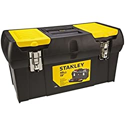 """Stanley Werkzeugbox / Werkzeugkoffer Millenium (19"""", 49x26x25cm, herausnehmbare Ablage, Box mit zwei Organizern für Werkzeuge, robuster Koffer mit Metallschließen, Kunststoffgriff) 1-92-066"""