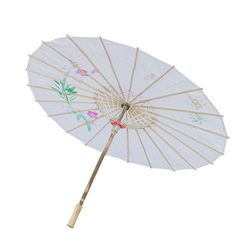 Generic Handmade Chinese Cloth Floral Umbrella Wedding Dance Props - white