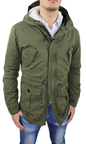 Giaccone uomo Parka verde militare invernale casual giacca cappotto con pelliccia (L, Verde militare)