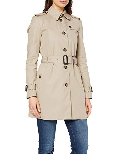 Tommy Hilfiger Heritage Single Breasted Trench Cappotto, Grigio (Medium Taupe 055), Small (Taglia Produttore:S) Donna