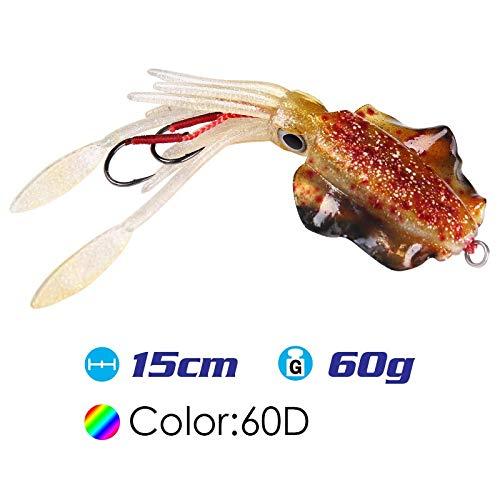 FJJ-DIAOYU, 15 cm / 60g UV Glow Pesca Richiamo Morbido Polpo Calamar Pesca Mar Mare Pesca wobbler Esca Calamari Maschere Esche da Pesca in Silicone richiamo (Colore : SQ M 60D)