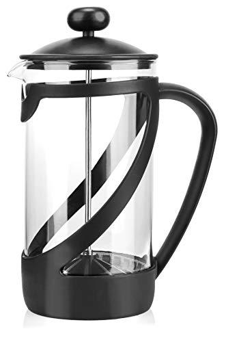 COM-FOUR® Cafetera con sistema de prensa francesa - La prensa de café también sirve como tetera - Cafetera con cilindro de vidrio (01 piezas - Maquina de cafe 1 litro)