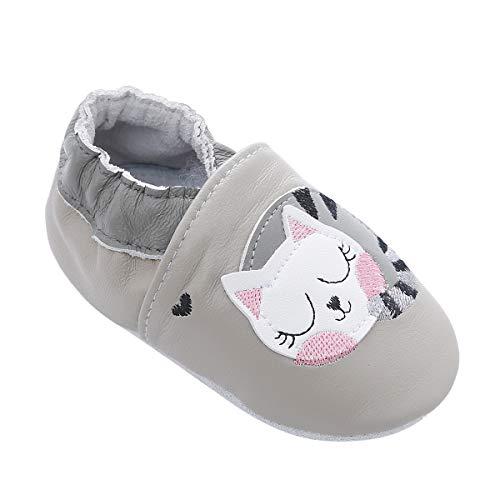 98/5000 Morbide Scarpe da Bambino in Pelle con Mocassini Suede Suede per Neonati Toddlers Ragazzi Ragazze Prewalker Shoes (12-18 Mesi, Gatto Pigro)