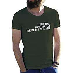 The North Remembers Game Of Thrones Verde militar Camiseta para hombre Large