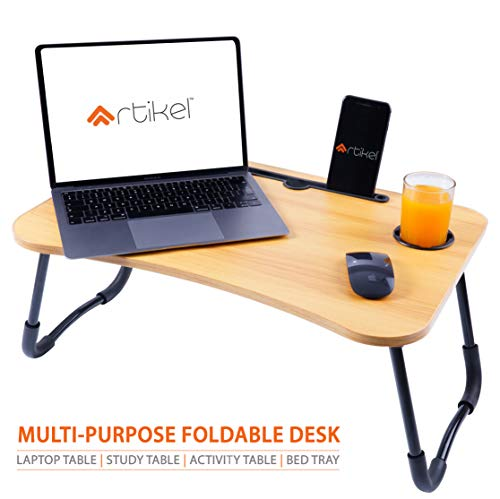 Artikel Multi-Purpose Laptop Table with Cup Holder & Dock Stand | Study Table | Bed Table | Foldable and Portable | Ergonomic & Rounded Edges | Non-Slip Legs | Engineered Wood | Ergo+ Series | Hard Maple Wood