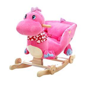 Caballo de madera para niños Caballo Mecedora Bebé con música de Madera Maciza de Doble Uso Silla Mecedora para bebés Juguetes educativos 60 * 28 * 41 cm Xuan - Worth Having (Color : Pink)