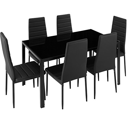 TecTake Tavolo de Pranzo con 6 sedie - Disponibile in Diversi Colori (Nero | No. 402839)