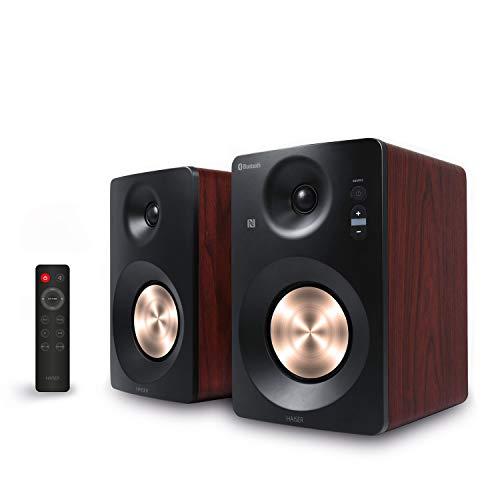 HAISER HSR 120 BT PRO | 60 Watt RMS Aktiv Studio-Lautsprecher mit • Bluetooth • NFC • USB • Boxen • Neodym | Aktiv-Lautsprecher-System Regal-Lautsprecher PC-Lautsprecher mit Fernbedienung